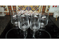 Official San Miguel Chalice Pint Beer Glass x 4, New and Unused.