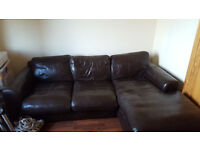 Brown 3-Seater Couch - Imitation Leather