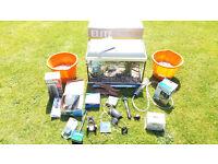 Fish Tank Aquarium - Complete Tropical Set-up with pump, heater, light, plants, gravel, accessories