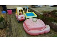 Kids Car, Trampoline and Sand Pit