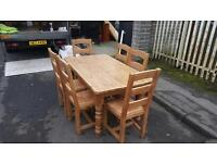 Farmhouse solid pine table & 6 chairs £149 delivered free in belfast