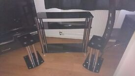 Black glass tv and speaker stands