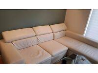 corner white leather sofa