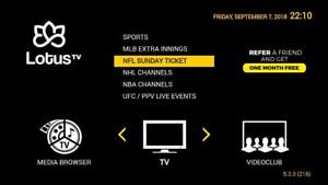 IPTV SERVICE & BOX  - 24 HOUR TRIAL  CANADIAN  USA  - SPORTS - MLB, NFL, NHL SUNDAY  NBA, UFC , LATINO, CARIBBEAN, ADULT