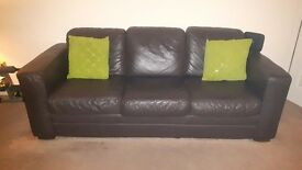 2 three seaters Brown Italian leather suite/couch