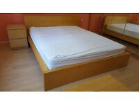 king size bed in oak veneer IKEA MALM - with mattress