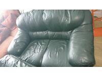 Sofas (green leather x 2)