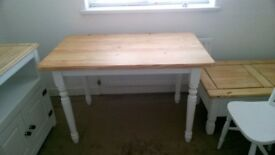 Dinning Table. cusion white base waxed pine top