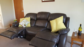 3 seater electric recliner sofa,chocolate brown leather.