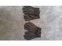 Leather gloves 2 pairs of gloves in black