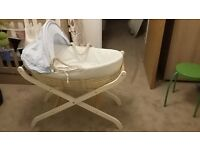 Mamas & Papas moses basket with unused mattress and stand