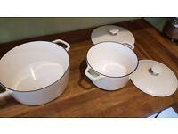Casserole pots, cast iron Cream x2