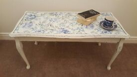 Shabby chic ~ vintage ~ glass top coffee/occasional table