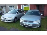 Ford Mondeo 07 and Mitsubishi space star 01 but only 61000mil