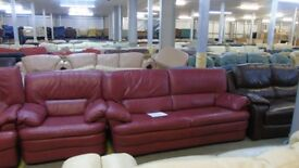 PRE OWNED Natuzzi 3 Seater + Chair in Maroon / Burgandy Leather