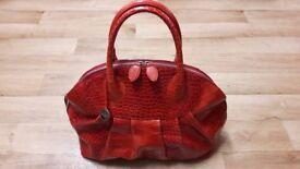 Furla - Red Genuine Leather Bag - Moc Croc design for women