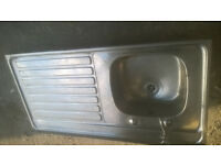 STAINLESS STEEL SINGLE SINK TOP WITH TAP AND WASTE ONLY £10 IN FAIR CONDITION SUIT GARAGE OR SHED