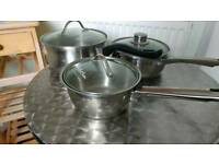 SET OF 3 ANTONY WORRALL THOMPSON STAINLESS STEEL PANS WITH GLASS LIDS.USED BUT VERY CLEAN CONDITION.