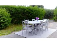 Stunning 8ft Dining Table and 6 Chairs. Paris Grey, Shabby Chic. Delivery Available.