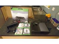 Xbox one 500gb, comes with a controller, 4 games, headset, Kinect and in original packaging