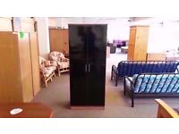 GREAT CONDITION!! 2 door black fronted wooden wardrobe with built in rail