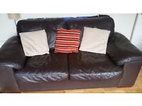 3 and 2 seater sofa. Brown leather