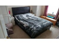 Faux Leather Choc Brown Double Bed frame, Memory Foam topped mattress and two pillows - 2 years old!