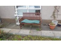 Garden bench with cushion in very good condition