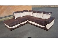 Really nice BRAND NEW corner sofa and matching footstool,chenille fabric, can deliver