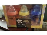 Brand new tommee tippee 260ml x 6 colour my world bottles
