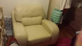 White Italian leather chair