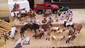 SCHLEICH HORSES TRAILER STABLES HUGE COLLECTION