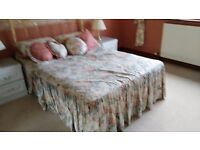 Bedspread, cushions, curtains and stool to match