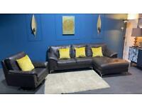 Stunning brown leather corner sofa and swivel chair. Really nice suite
