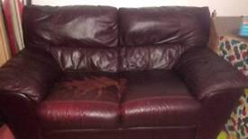 Brown leather sofa (free)