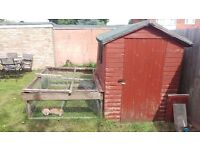 Large 7'x5' Rabbit hutch with run converted from shed