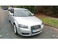 A3 SPORTBACK 5 DOOR 1.8 TFSI AUTOMATIC 57 REG IN SILVER WITH GREY TRIM AND MOT JAN 2019