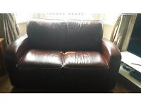 Brown leather 2 seater sofa, good condition