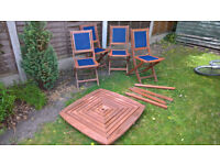 Teak patio table and 4 chairs