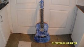 ACCUSTIC GUITAR MADE INTO CD/DVD HOLDER (CUSTOM PAINTED)