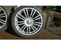 MINT 17'' MULTIFIT TEAM DYNAMIC MOTOR SPORT ALLOYS WITH FREE TYRES ,FITTING,AND BALANCE OPEN 7 DAYS