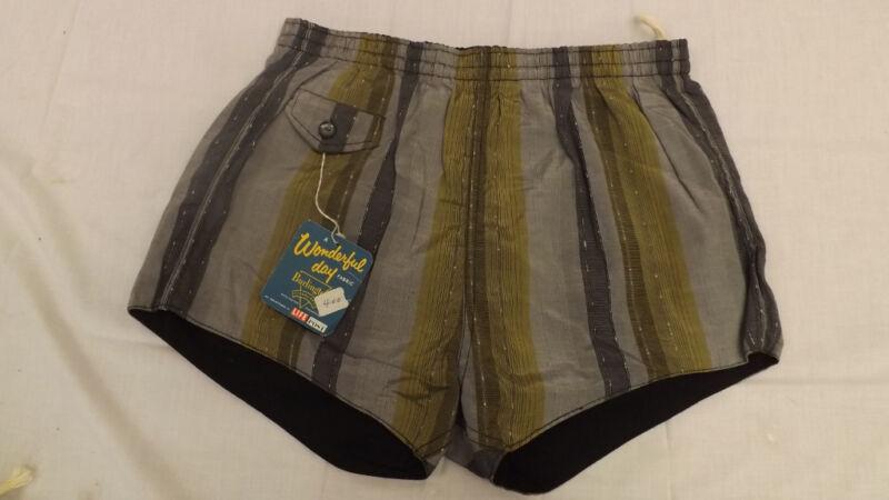 Vtg 60s NOS Swim Suit Sz M VERY MOD Chromspun Acetate/Cotton Surf Shorts/Trunks