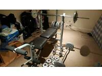 Home gym weights bench + bars and weights