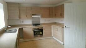 Kitchen units, gas hob, hood, stainless steel sink, tap, and Zanussi single oven