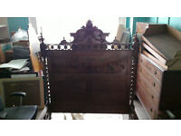 Mid 19th Century French Solid Walnut Bed