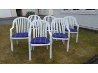 Grosfillex Classic Garden Furniture Range - Six Garden Chairs and seat cushions