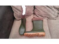 GREEN Wellington Boots Wellies Welly Boots Fur Lined Outdoor Boot Sizes 4 5 6