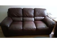 3 and 2 seater sofa in brown leather