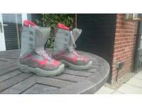Red and grey K2 snowboard boots, good condition, UK size 6