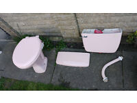Pale Pink SHANKS Toilet basin, cistern and lid, with matching and sink and pedestal